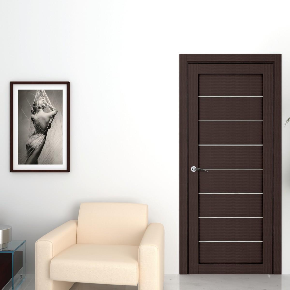 Дверь Межкомнатная Глухая Сабрина 60x200 Ламинация Цвет Мокко С Фурнитурой