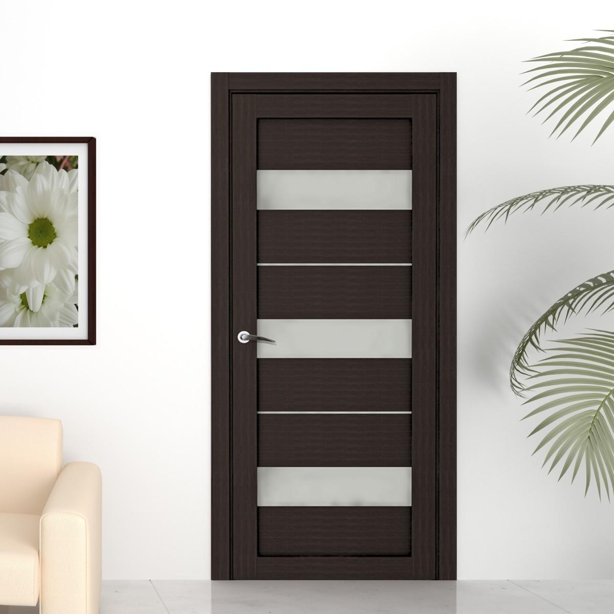 Дверь межкомнатная остеклённая «Сабрина» 200х60 см ламинация цвет мокко с фурнитурой