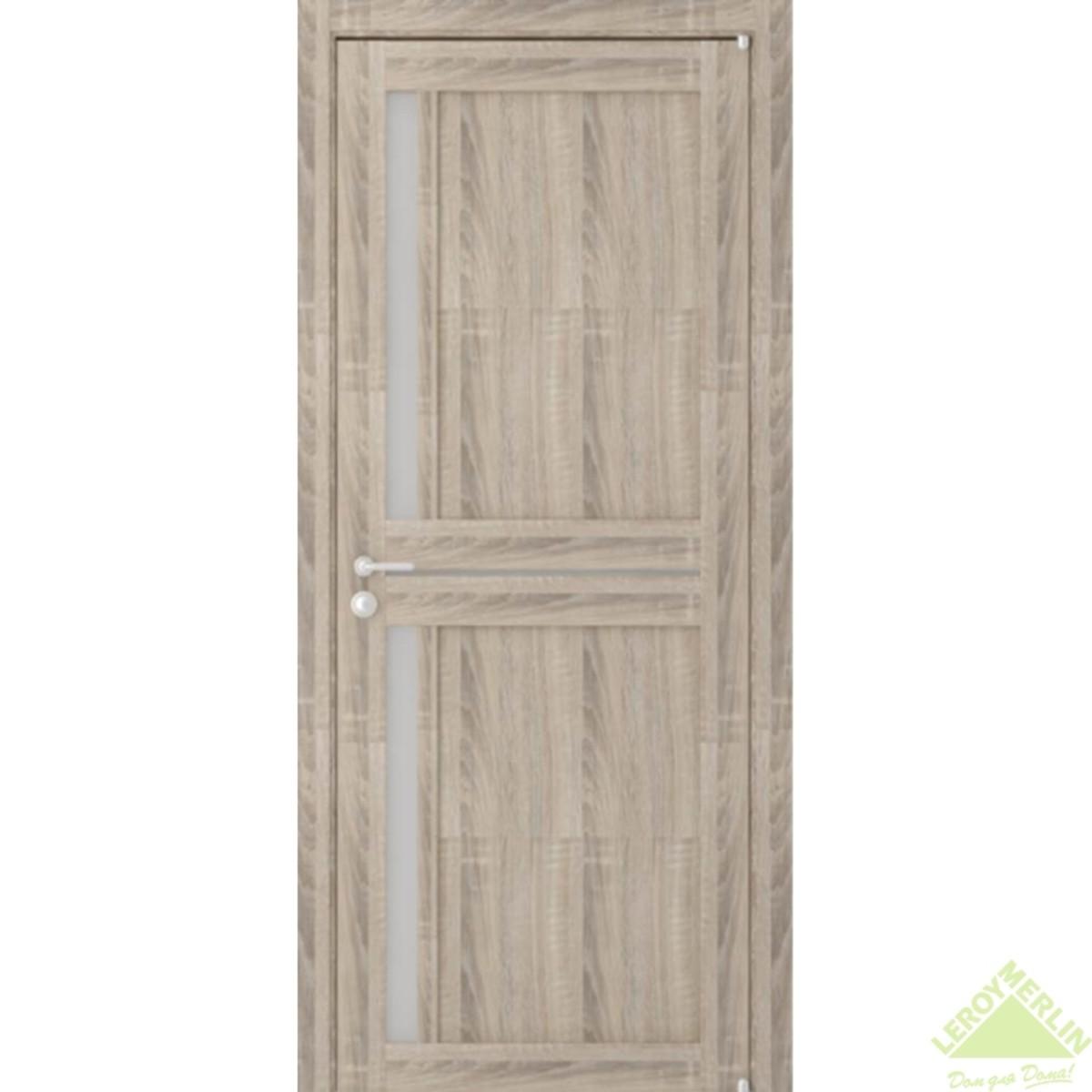 Дверь межкомнатная остеклённая Вита 80x200 см ламинация цвет дуб с фурнитурой