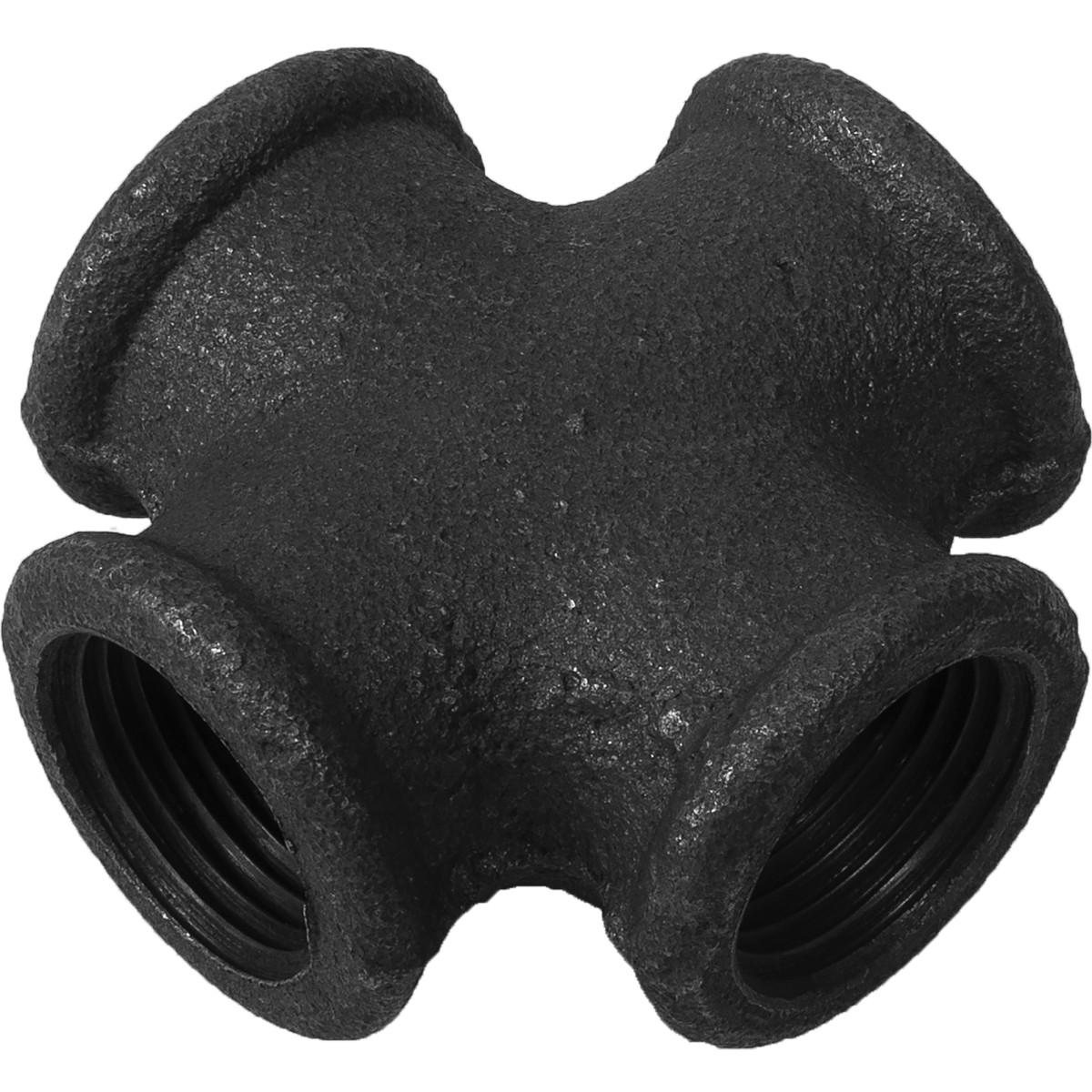 Крестовина внутренняя резьба 1/2 мм ковкий чугун цвет черный