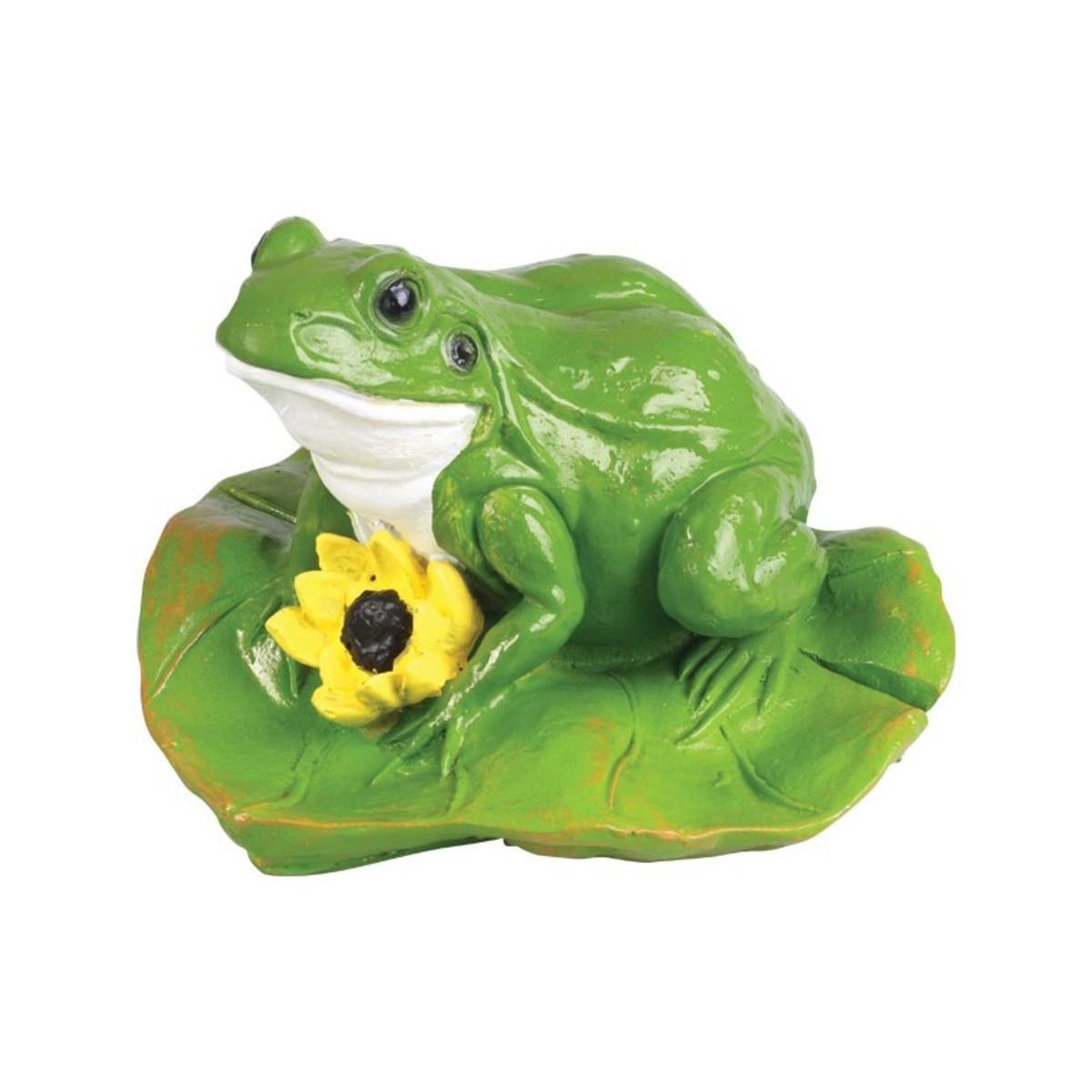 Лягушка с цветком средняя 16 см