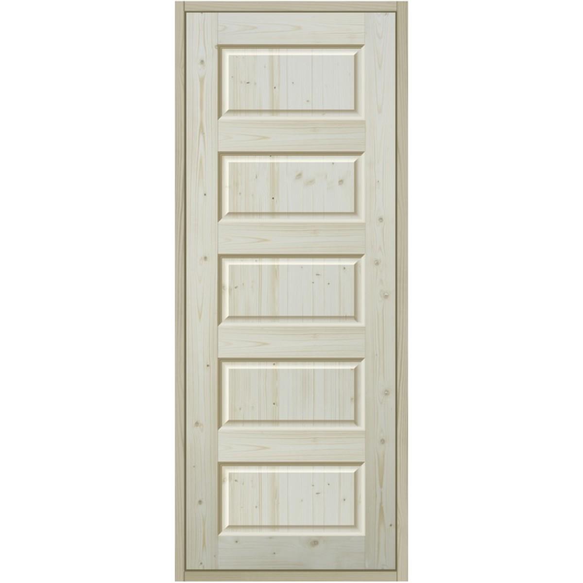 Дверь межкомнатная 90x200 см пятифиленчатый массив хвои цвет натуральный