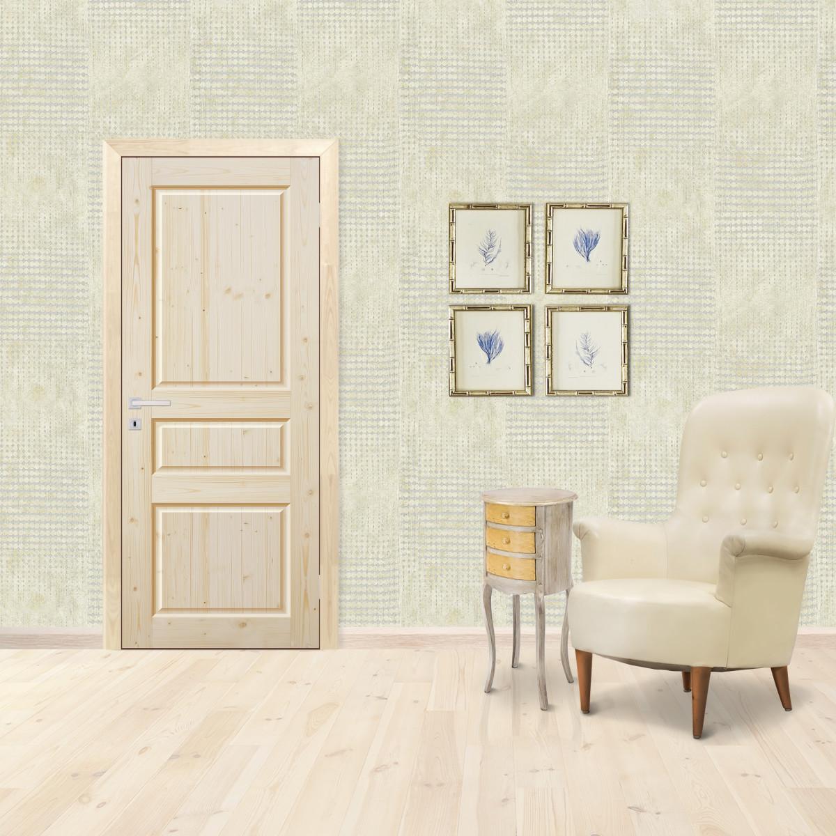 Дверь Межкомнатная Глухая 60x200 Трехфиленчатый Массив Хвои Цвет Натуральный