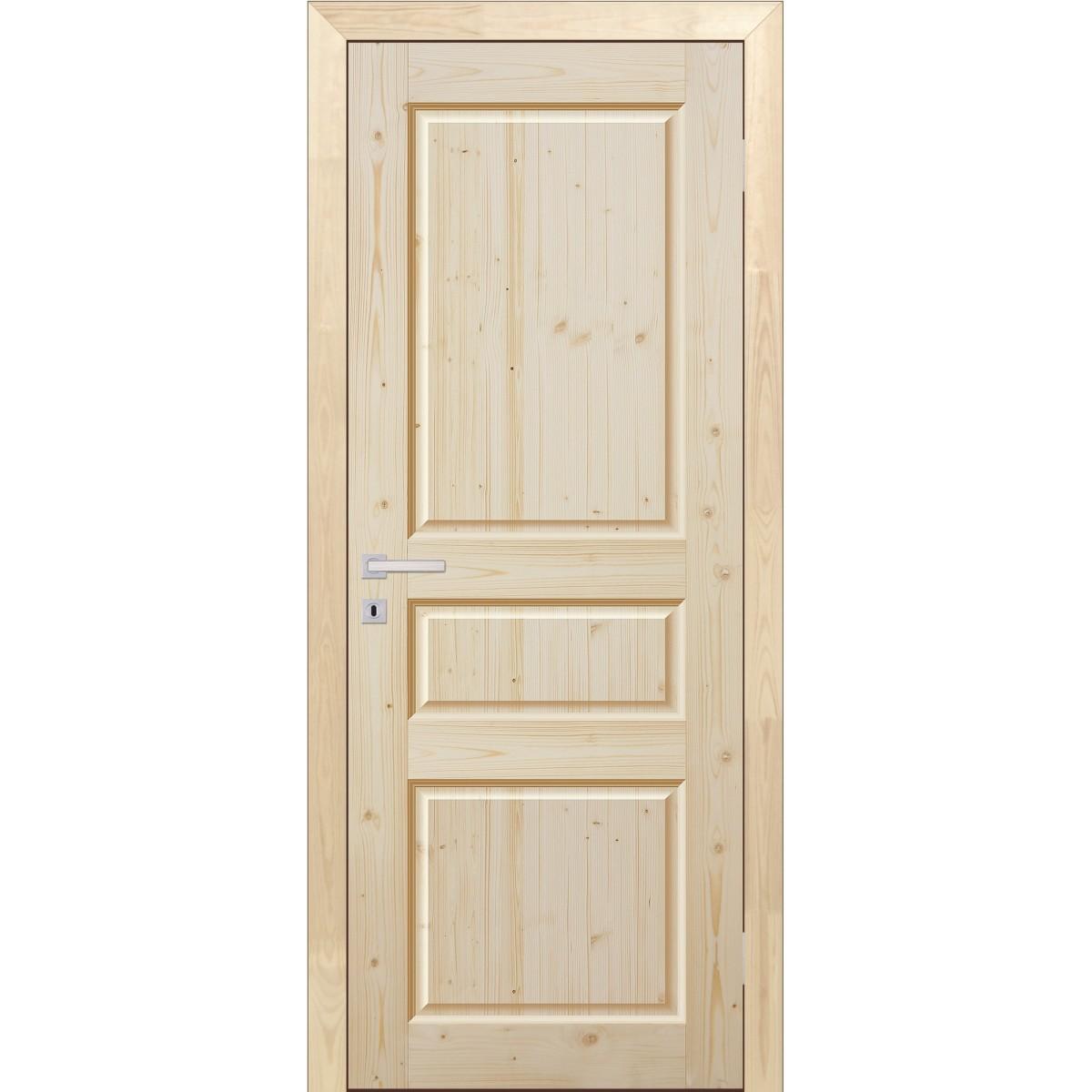 Дверь межкомнатная глухая 80x200 см трехфиленчатый массив хвои цвет натуральный
