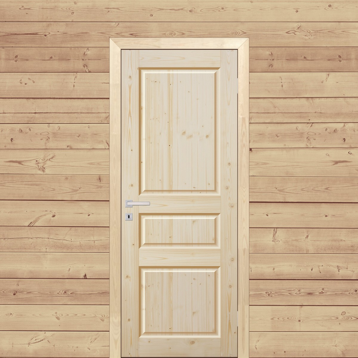 Дверь Межкомнатная Глухая 80x200 Трехфиленчатый Массив Хвои Цвет Натуральный