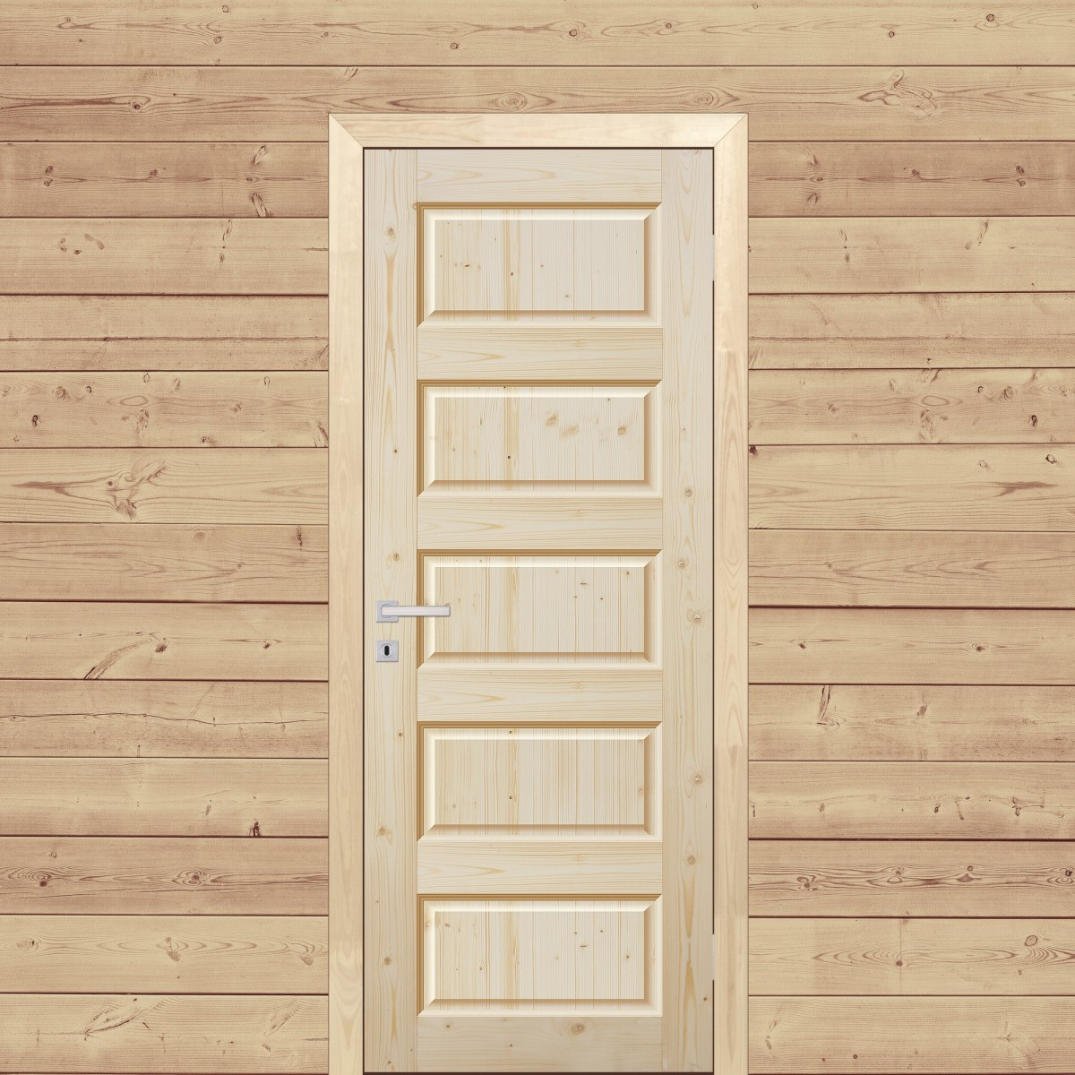 Дверь Межкомнатная Глухая 80x200 Пятифиленчатый Массив Хвои Цвет Натуральный