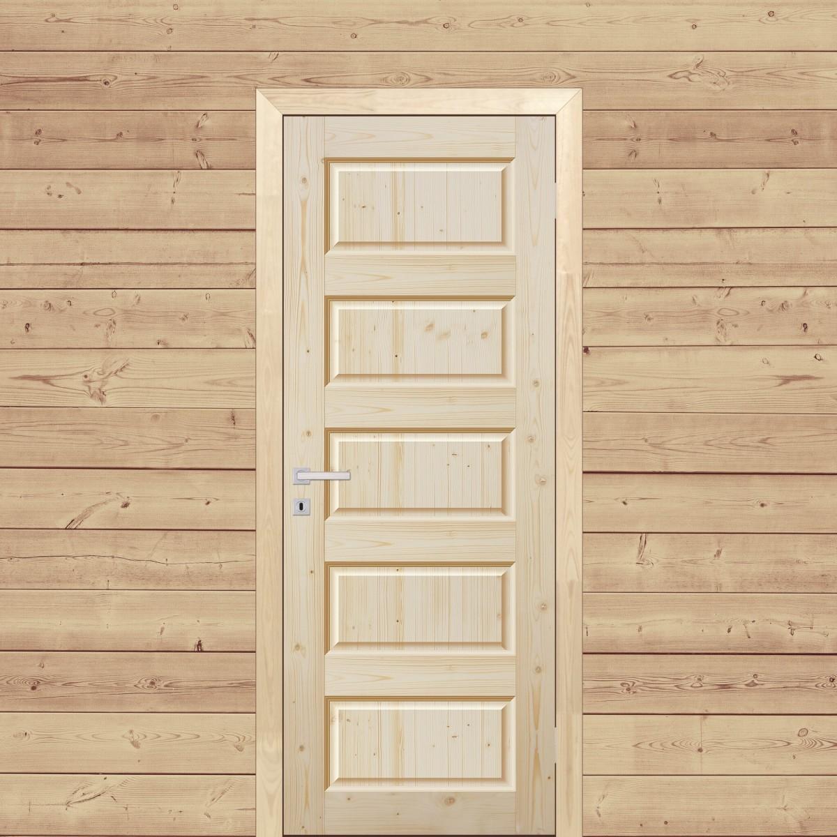 Дверь Межкомнатная Глухая 90x200 Пятифиленчатый Массив Хвои Цвет Натуральный