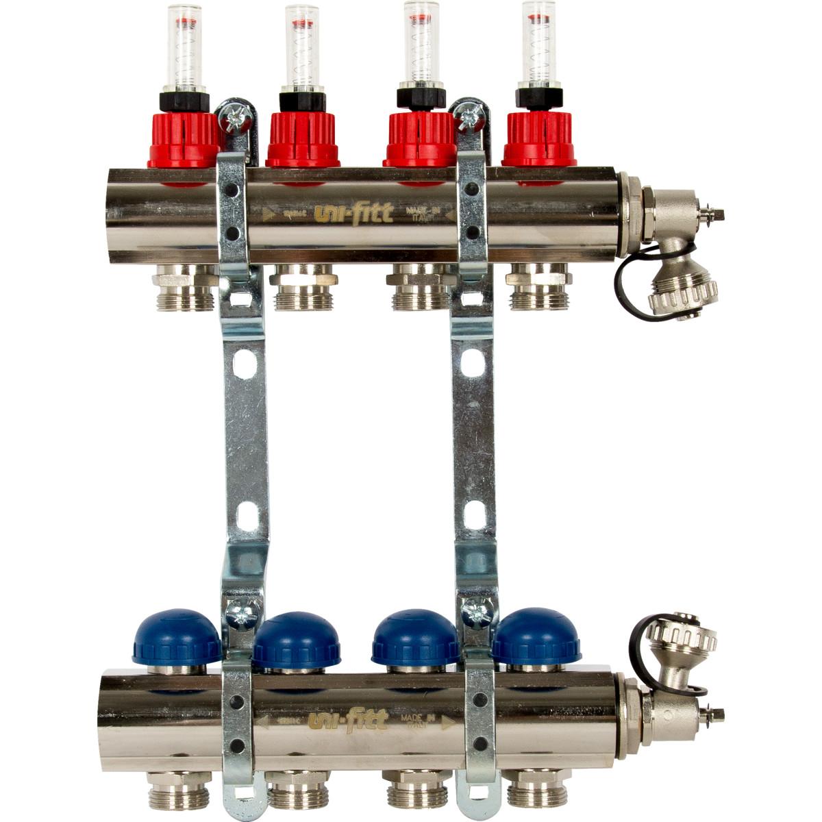 Коллекторная группа Uni-Fitt со встроенными расходомерами 1&#34х3/4&#34 4 выхода