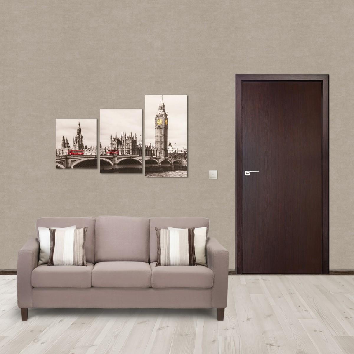 Дверь Межкомнатная Глухая Aura 70x200 Ламинация Цвет Венге 3d