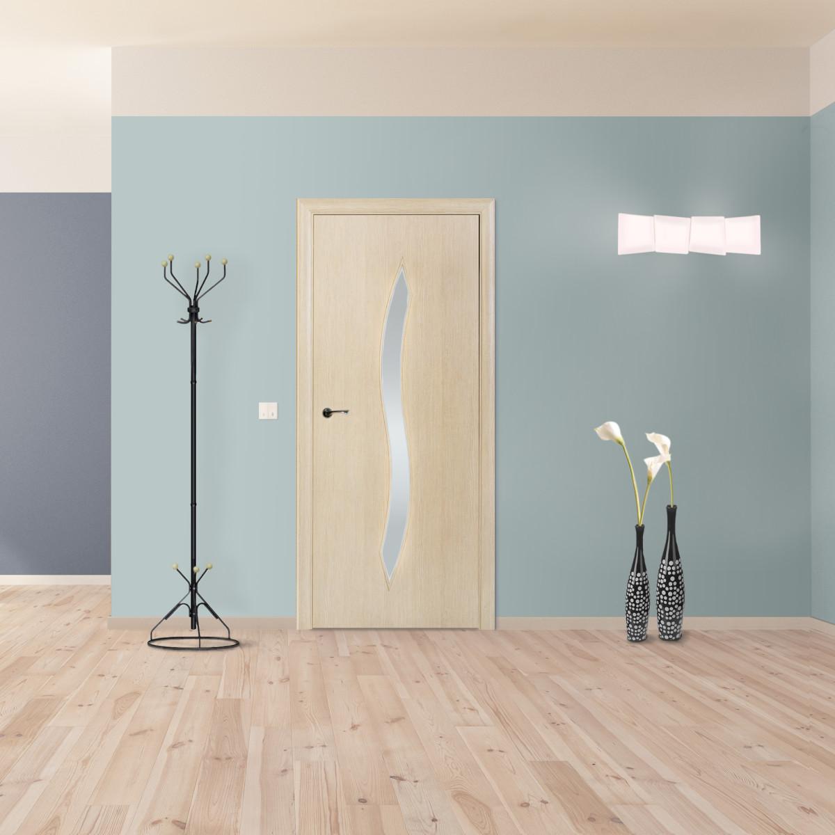 Дверь межкомнатная остеклённая Aura 60x200 см ламинация цвет ясень 3D