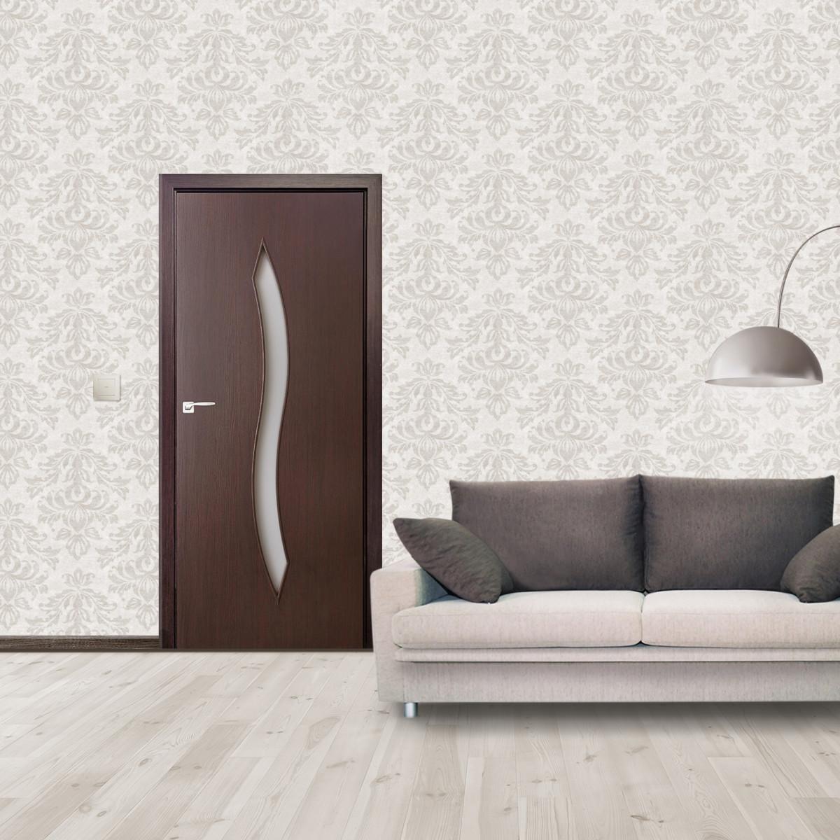 Дверь Межкомнатная Остеклённая Aura 60x200 Ламинация Цвет Венге 3d