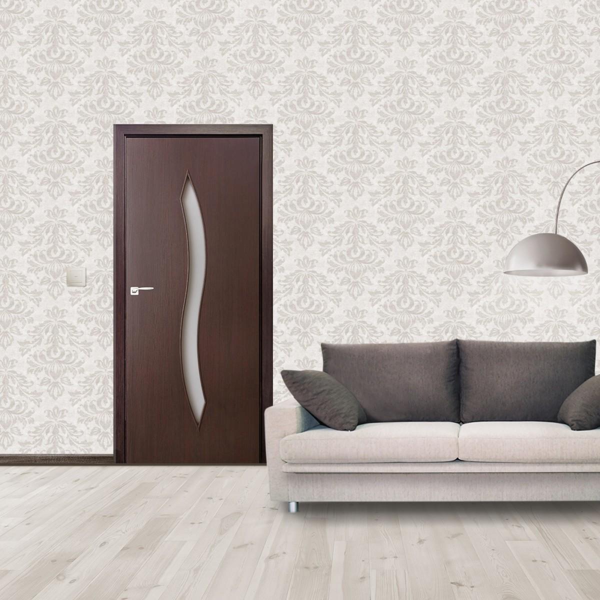 Дверь Межкомнатная Остеклённая Aura 70x200 Ламинация Цвет Венге 3d