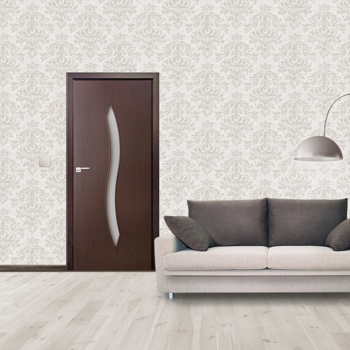 Дверь Межкомнатная Остеклённая Aura 80x200 Ламинация Цвет Венге 3d