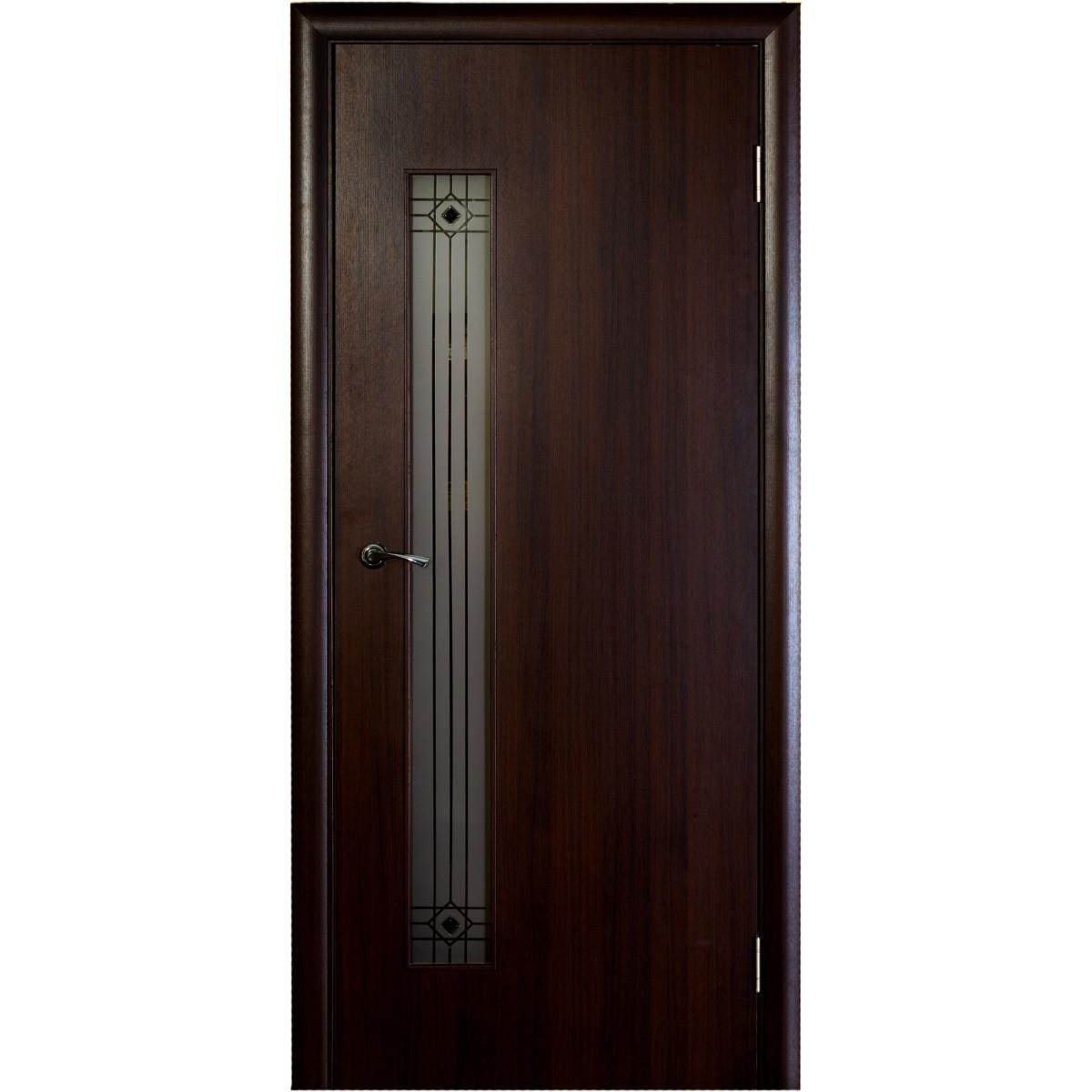 Дверь межкомнатная остеклённая Стандарт 80x200 см ламинация цвет венге