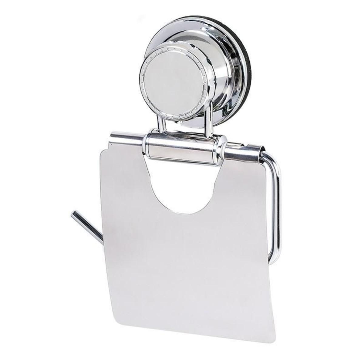 Держатель для туалетной бумаги Tatkraft «Vacuum Screw» с крышкой цвет хром