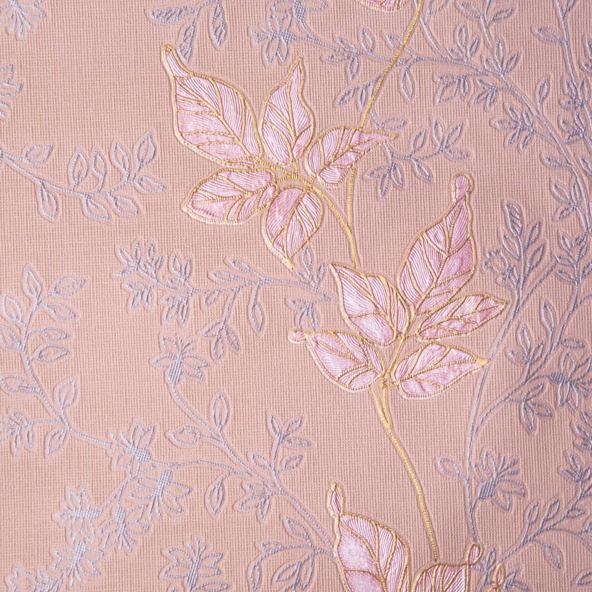 Обои бумажные 0.53х10 м листья цвет розовый 3809