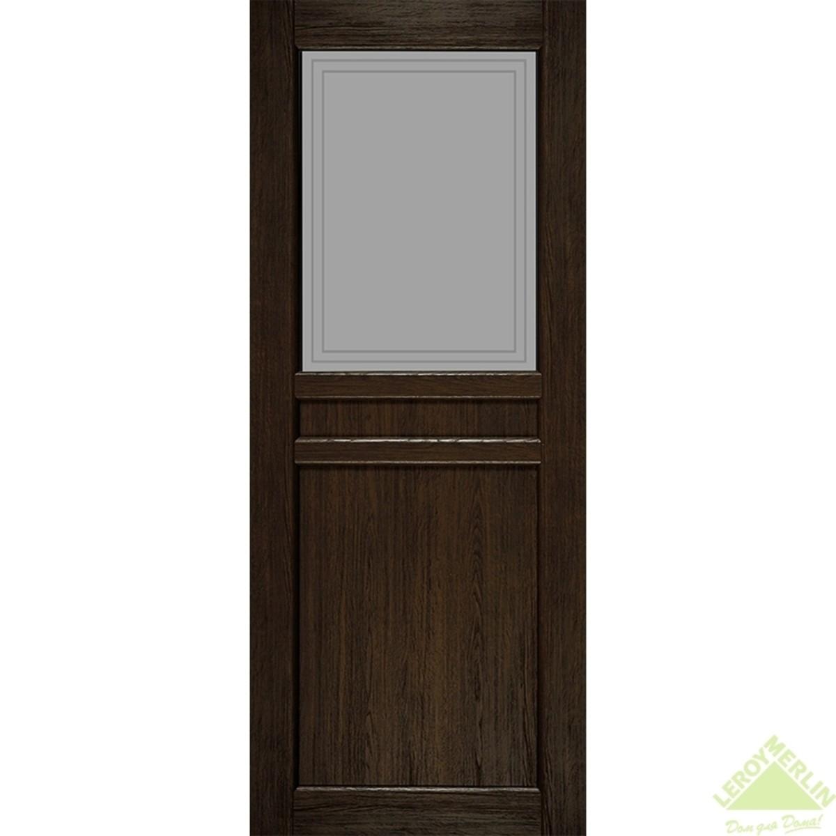 Дверное полотно остеклённое Элегия CPL 800x2000 мм ясень шоколадный