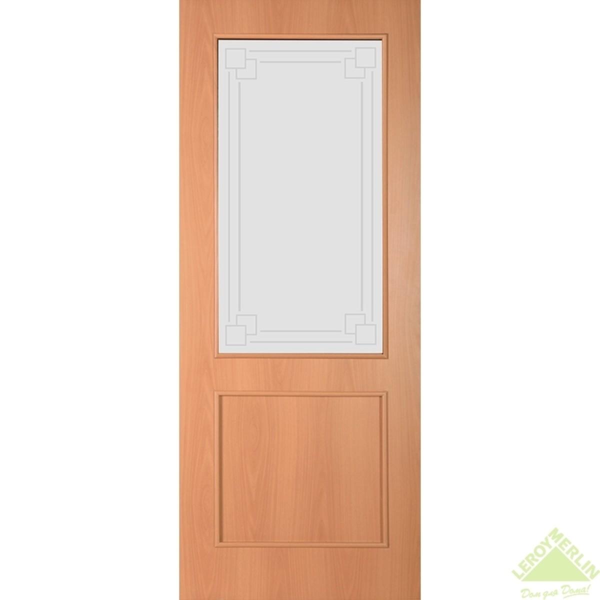 Дверное полотно остеклённое Квадро 600x2000 мм ламинация миланский орех