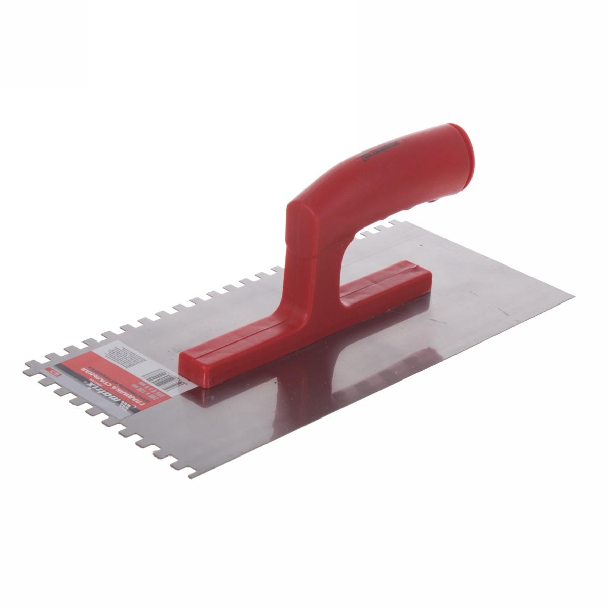 Кельма зубчатая нержавеющая сталь зуб 6х6 мм 130 мм