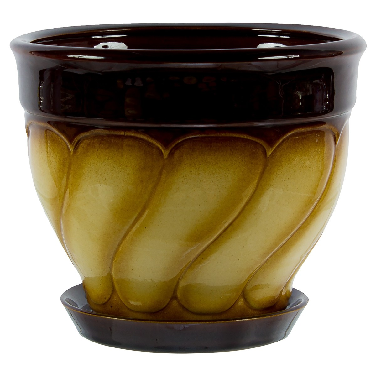 Горшок цветочный «Земфира» бежево-коричневый 4 л 200 мм керамика с поддоном