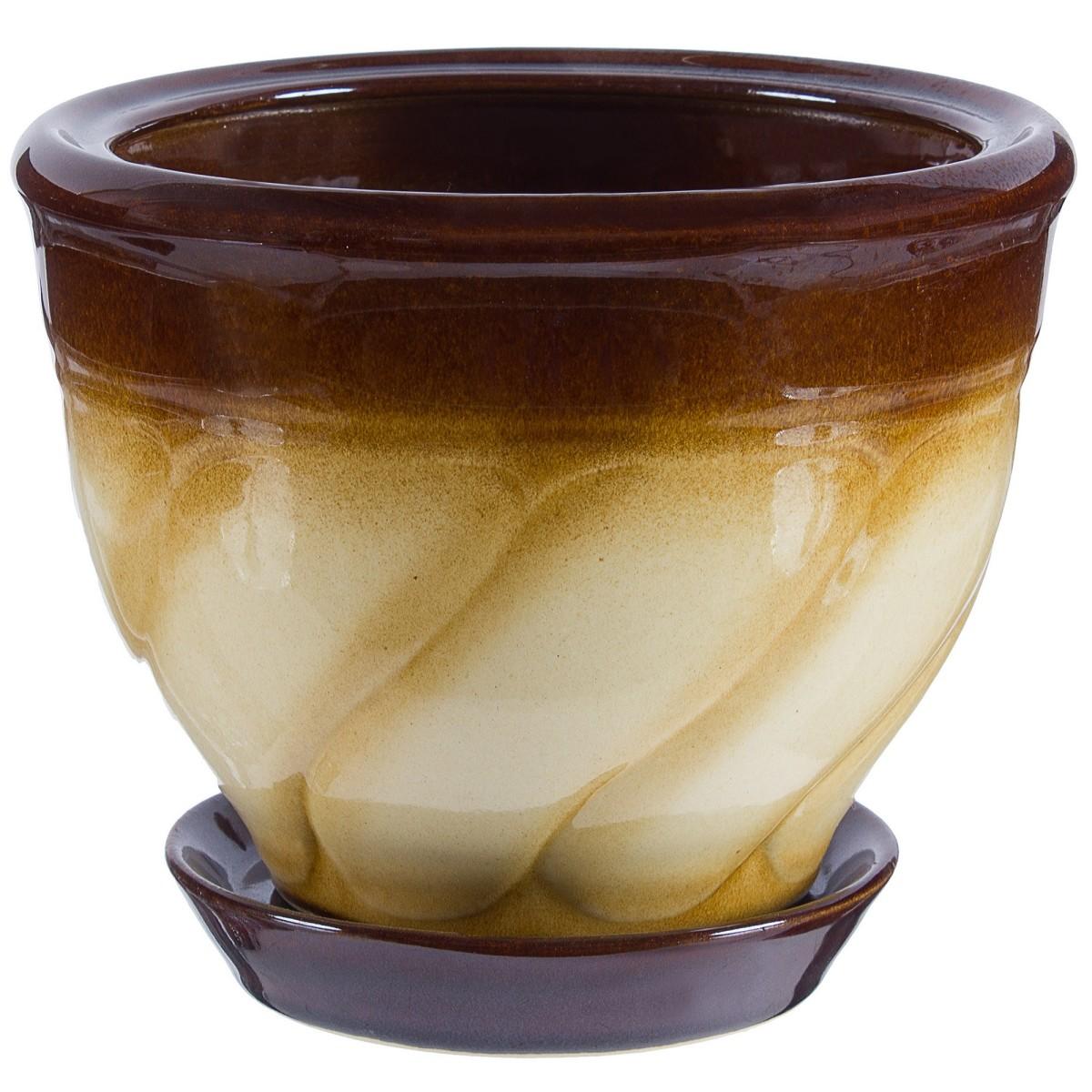 Горшок цветочный «Земфира» бежево-коричневый 1.6 л 150 мм керамика с поддоном