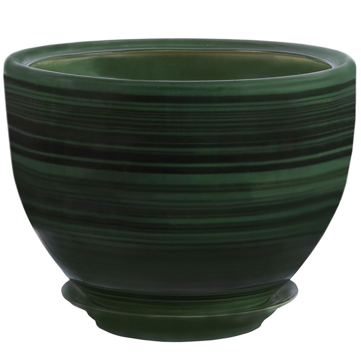 Горшок цветочный «Палитра» зелёный 8.6 л 290 мм керамика с поддоном