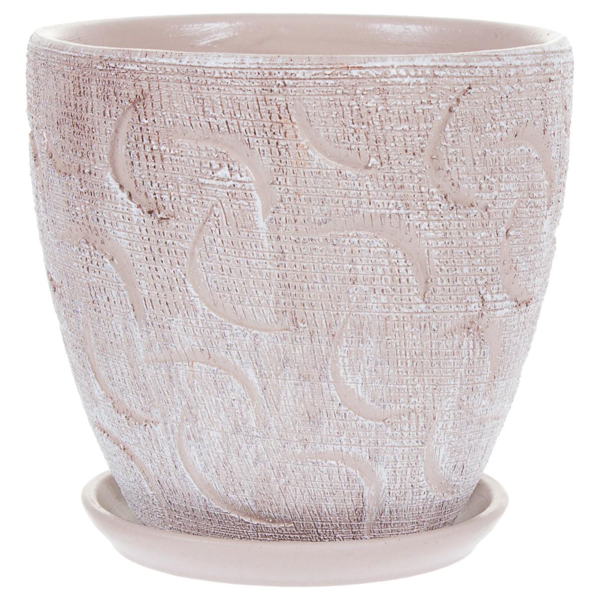 Горшок цветочный «Букле» коричневый 0.8 л 120 мм керамика с поддоном