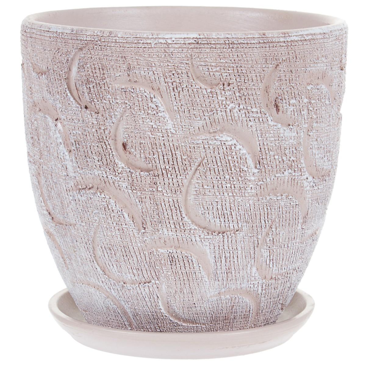 Горшок цветочный «Букле» коричневый 1.5 л 150 мм керамика с поддоном