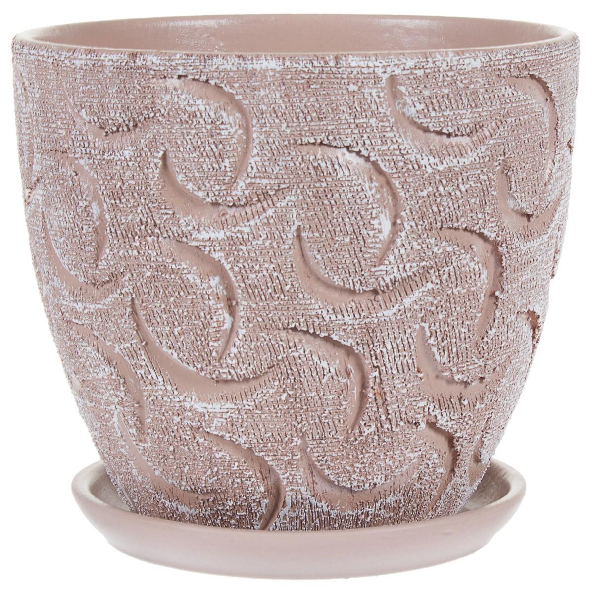 Горшок цветочный «Букле» коричневый 2.6 л 180 мм керамика с поддоном