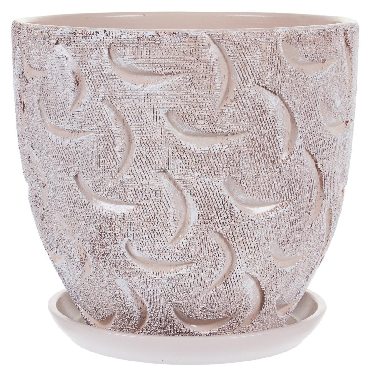 Горшок цветочный «Букле» коричневый 4.8 л 220 м керамика с поддоном