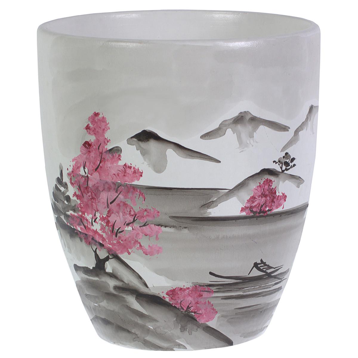 Горшок цветочный «Весна» белый 1.7 л 150 мм керамика с поддоном