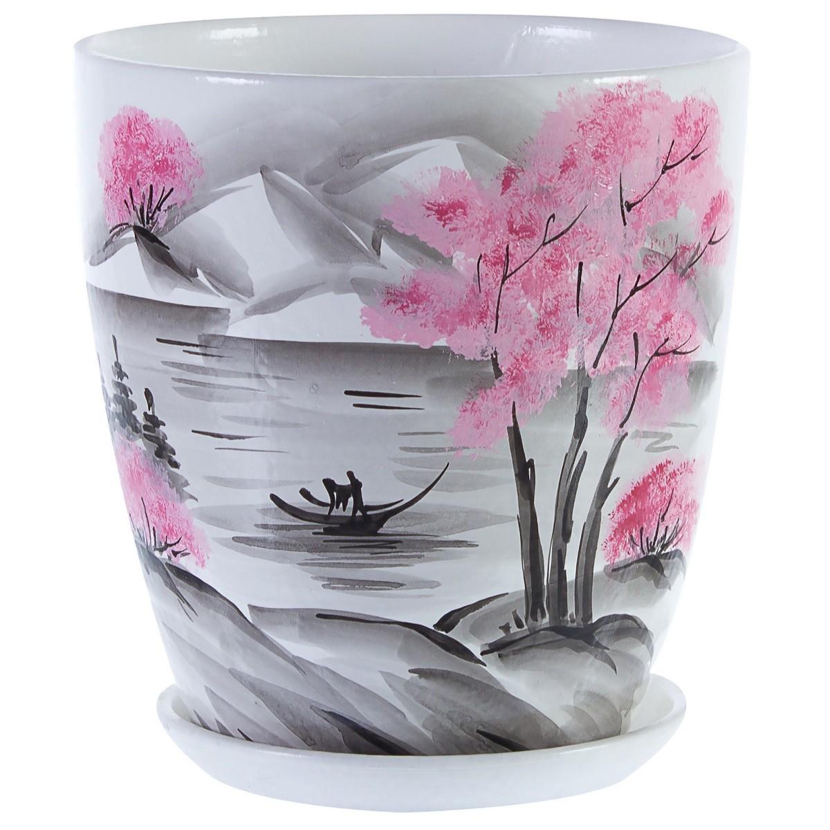 Горшок цветочный «Весна» белый 2.8 л 180 мм керамика с поддоном