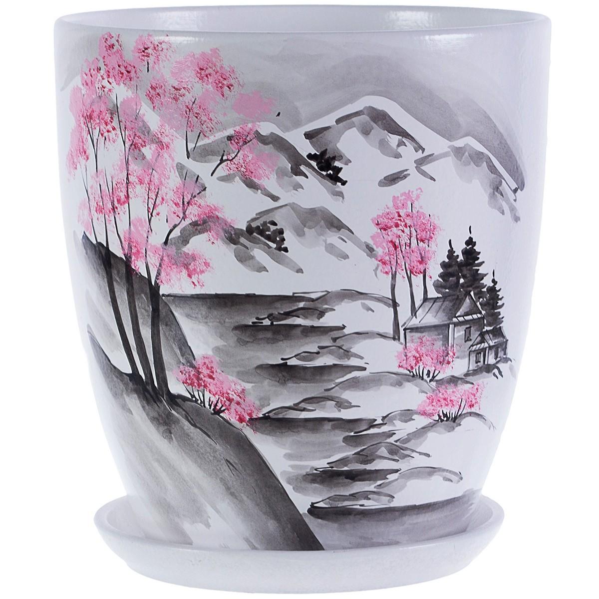 Горшок цветочный «Весна» белый 8.7 л 260 мм керамика с поддоном