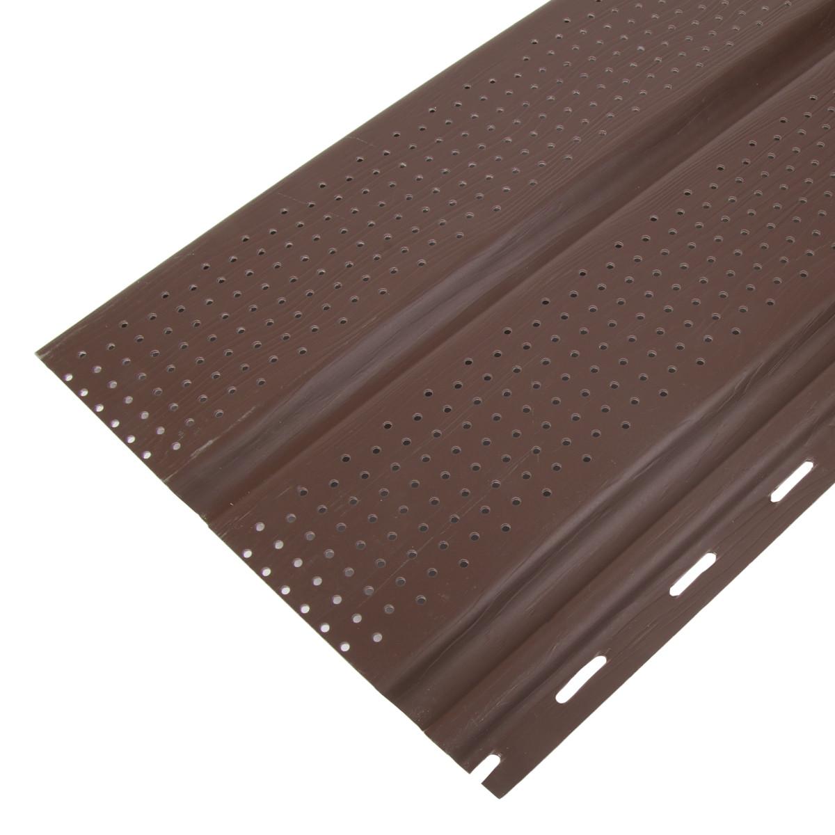 Софит перфорированный 3000 мм c круглыми отверстиями цвет темно-коричневый