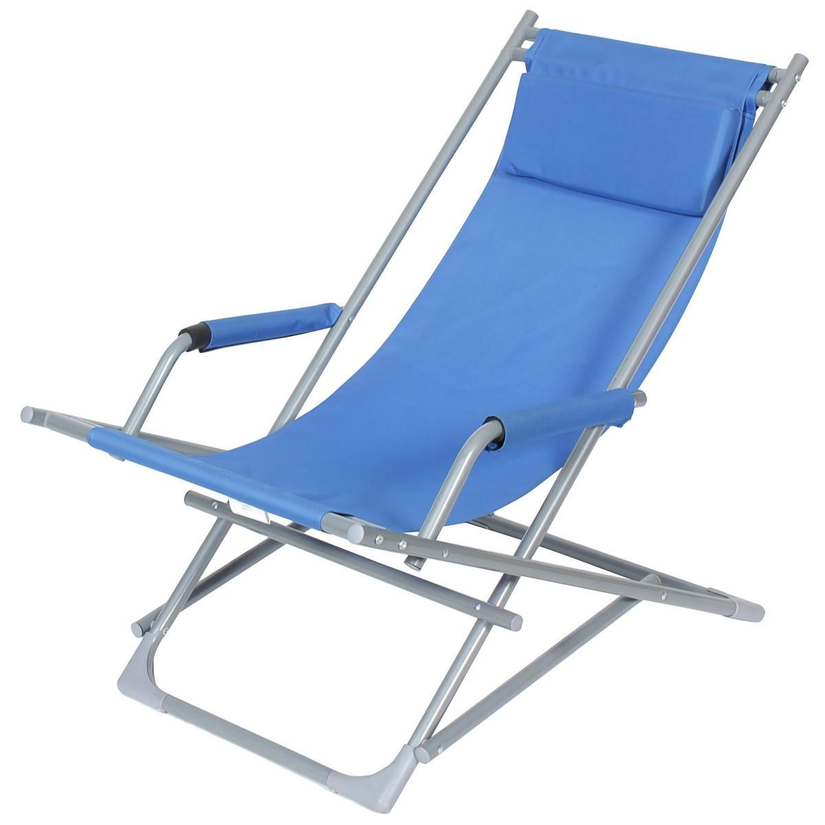 Кресло-качалка синее складное металл/ткань