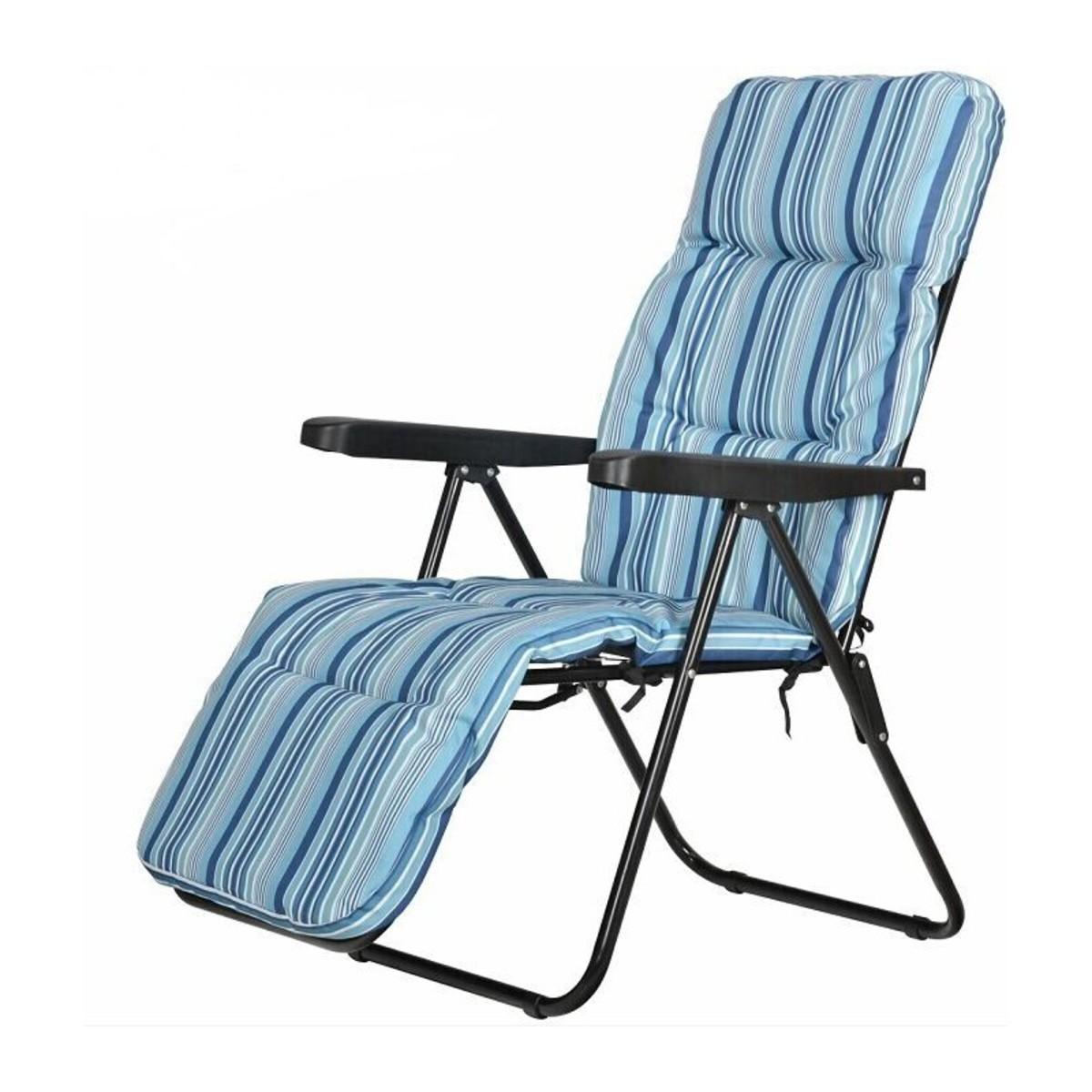 Кресло с подножкой складное 5 позиций цвет бело-синий