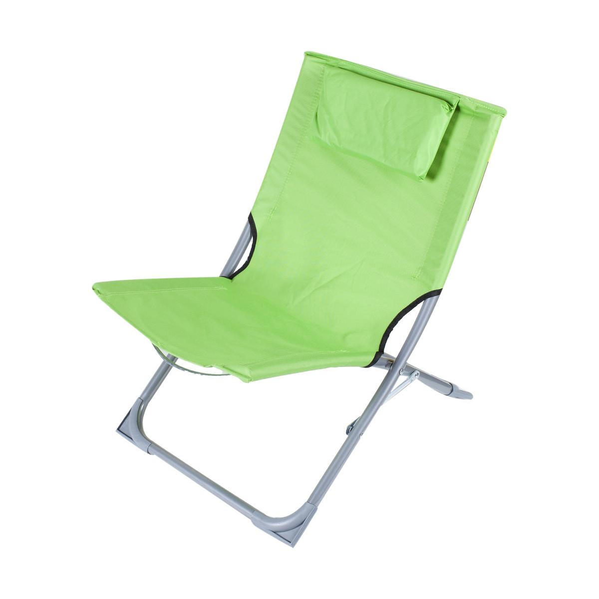 Стул пляжный зеленый 400x610x400 мм металл/ткань