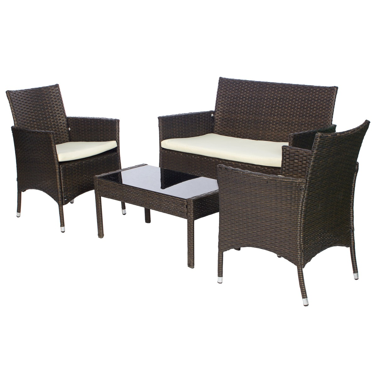Набор садовой мебели Кофейный 4 предмета полиротанг