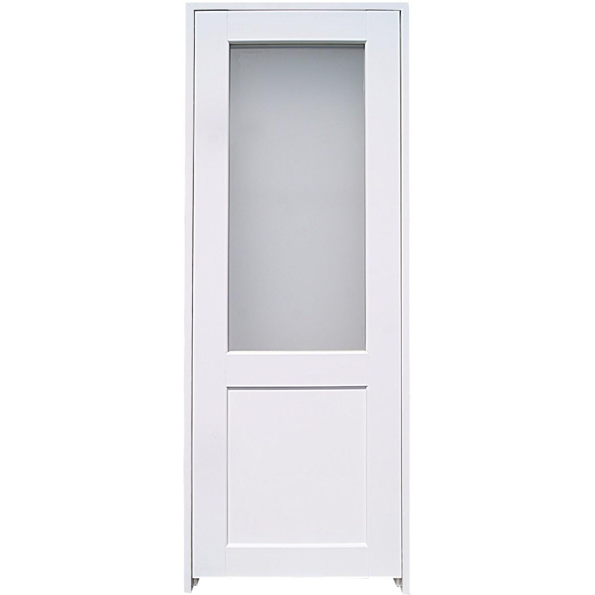 Блок дверной остеклённый с замком и петлями в комплекте Акваплюс 60x200 см ПВХ