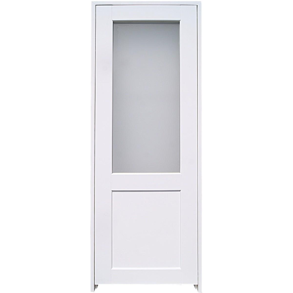 Блок дверной остеклённый с замком и петлями в комплекте Акваплюс 80x200 см ПВХ