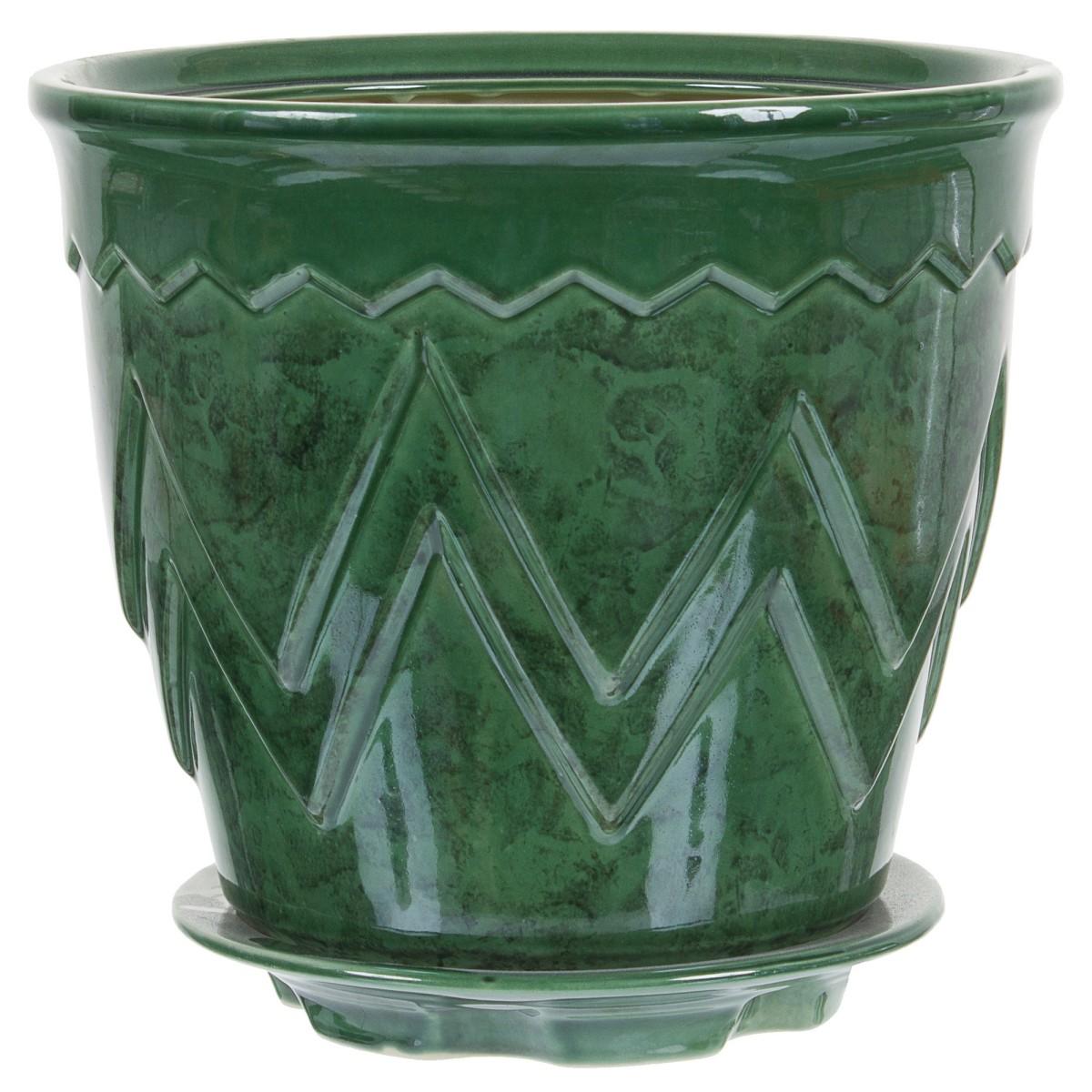 Горшок цветочный «Арго» зелёный 6 л 255 мм керамика с поддоном