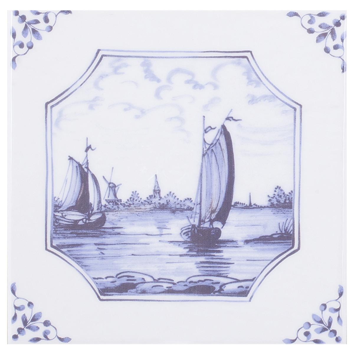 Декор Английский Делфт Корабли 20х20 см