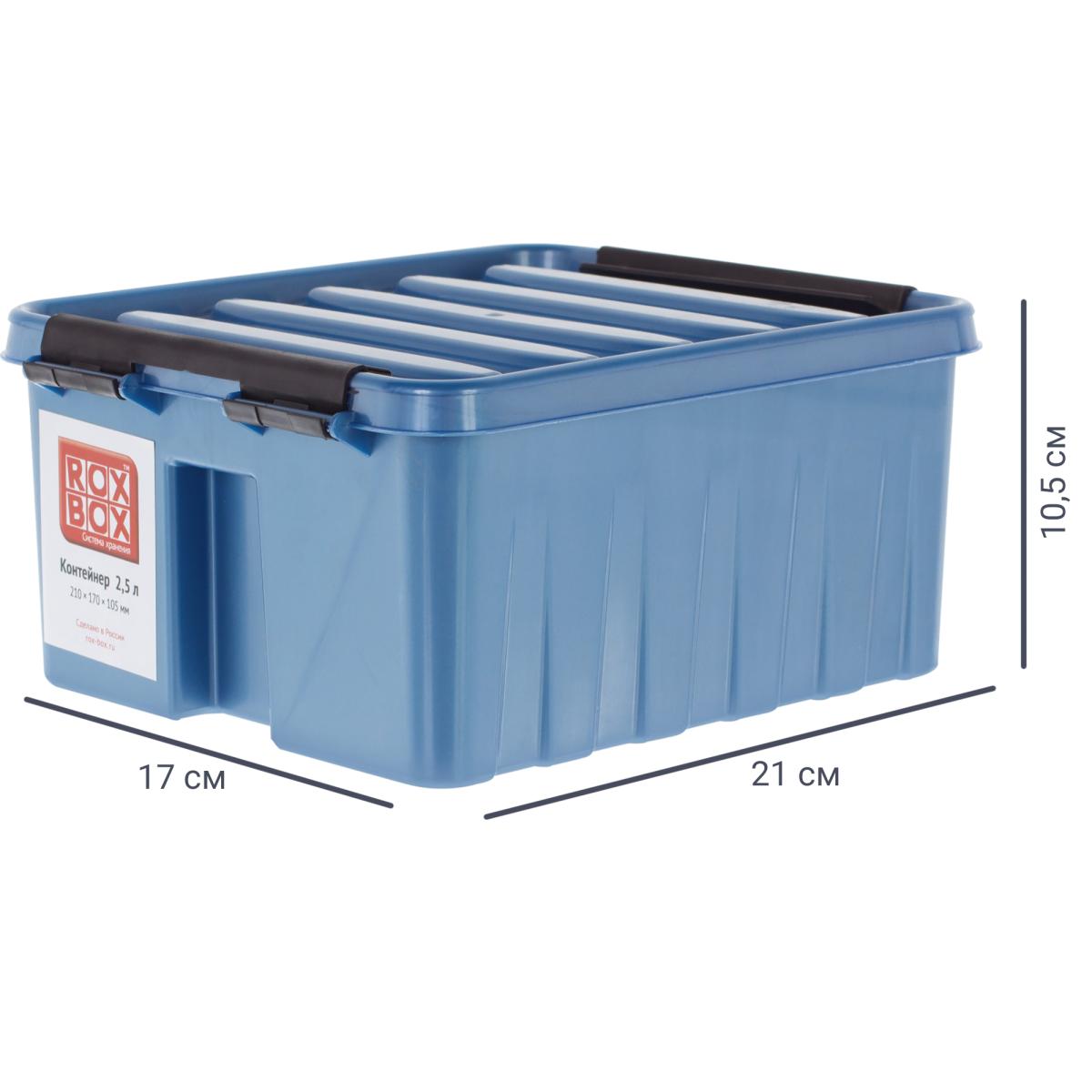 Контейнер Rox Box 21х17х10 см 2.5 л пластик цвет синий с крышкой