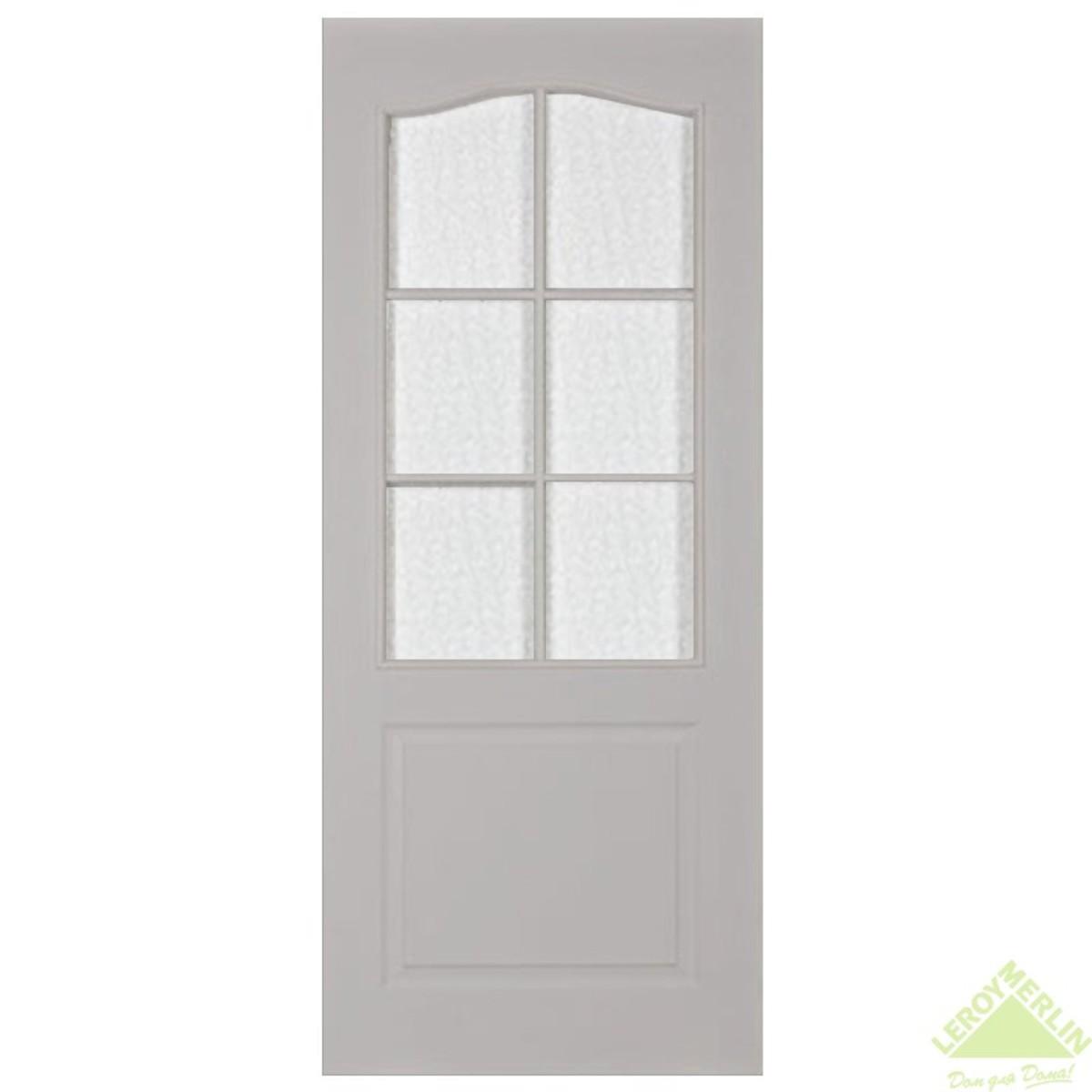 Дверь межкомнатная остеклённая Палитра 80x200 см ламинация цвет дуб белёный