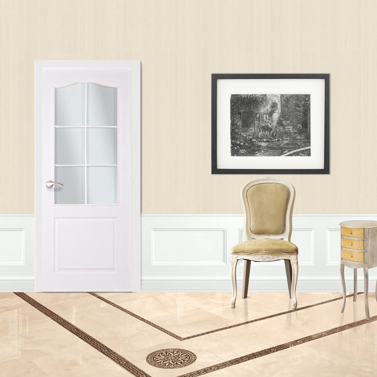 Дверь Межкомнатная Остеклённая Палитра 60x200 Ламинация Цвет Белый