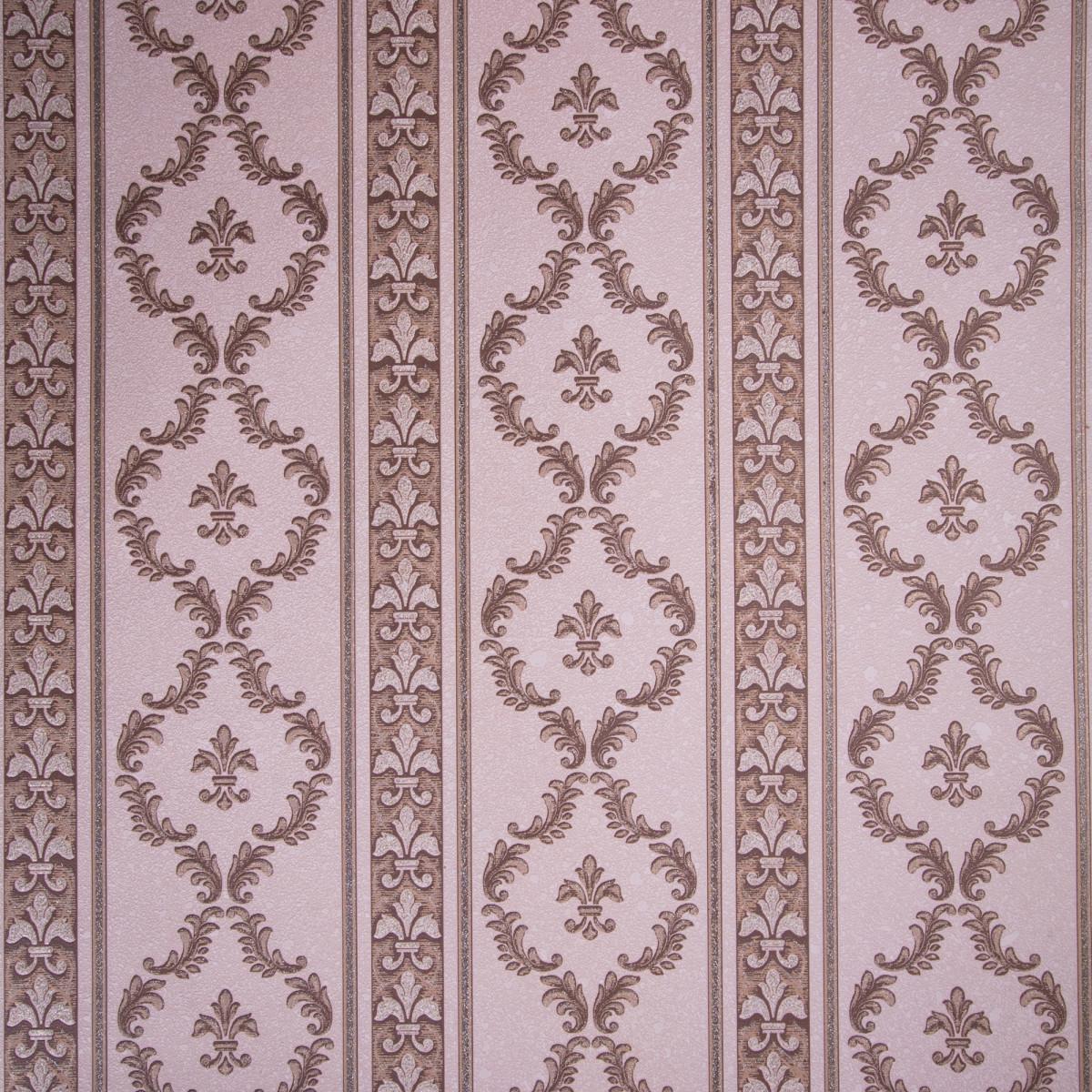 Обои виниловые 0.53х10 м полосы вензеля цвет коричневый Па 508-38