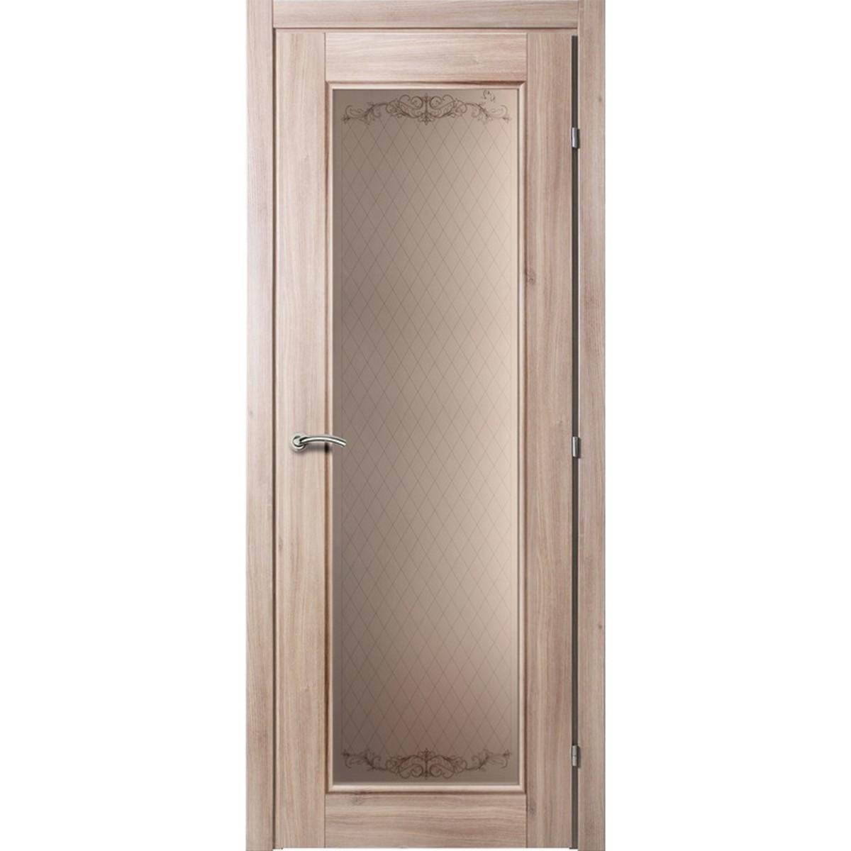 Дверь межкомнатная остеклённая Виктория 90x200 см CPL цвет акация с фурнитурой