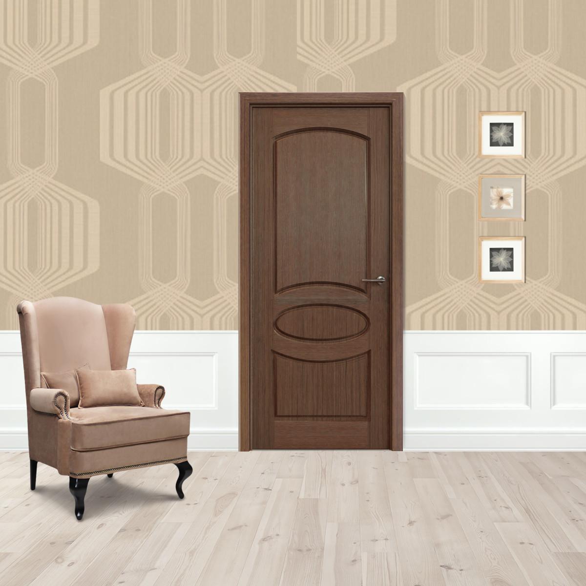 Дверь Межкомнатная Глухая Классика 60x200 Шпон Цвет Орех