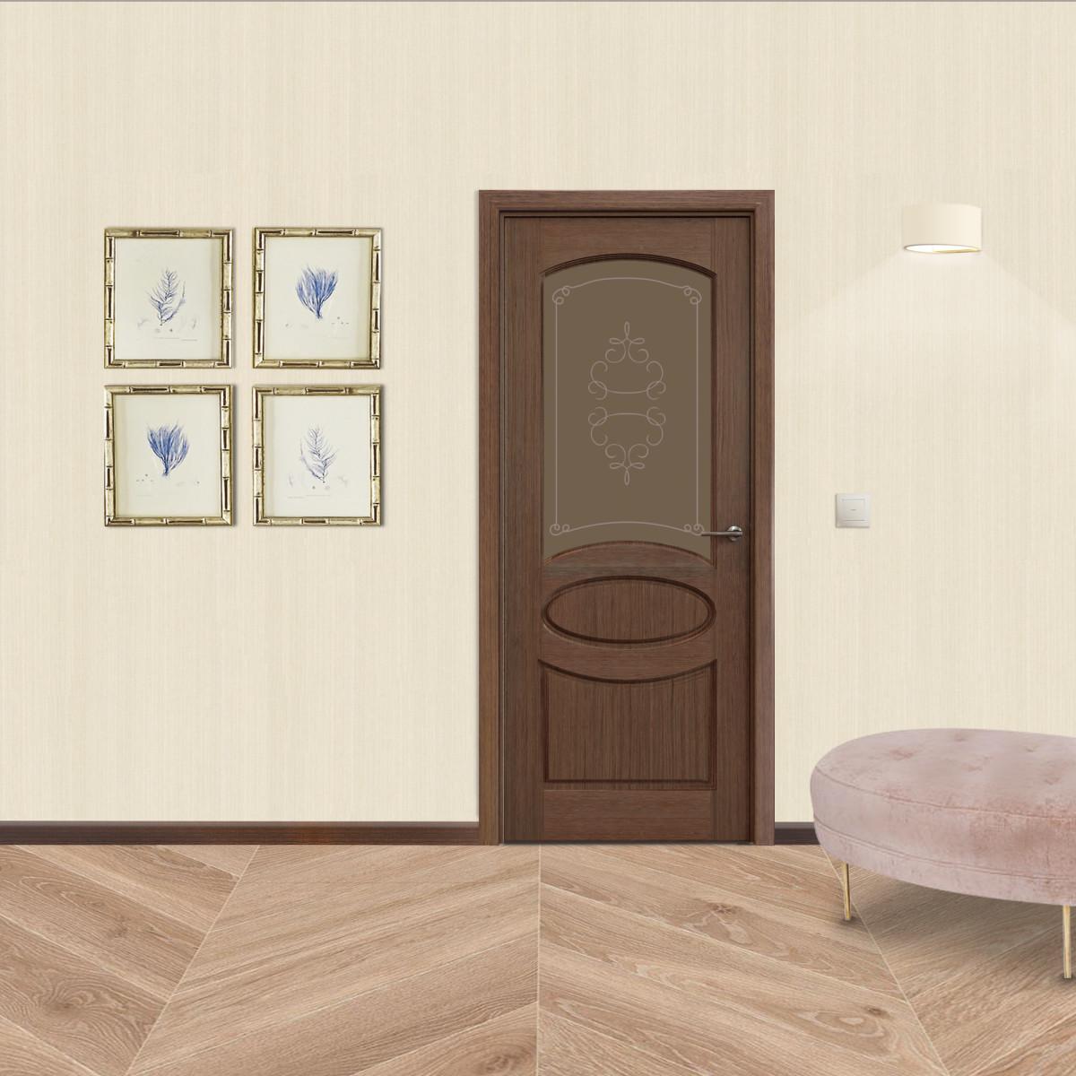 Дверь Межкомнатная Остеклённая Классика 60x200 Шпон Цвет Орех