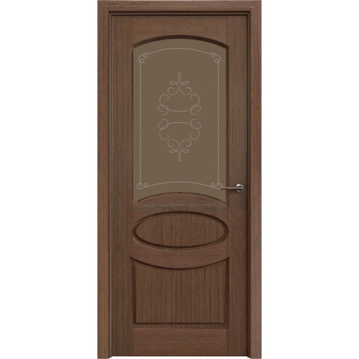 Дверь межкомнатная остеклённая Классика 60x200 см шпон цвет орех